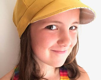 Newsboy Hat Reversible Baby or Childs Hat Paper Boy Mustard and Black and White Polkadots