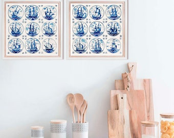 Set of 2 dutch tiles prints, kitchen decor, blue ships tiles art, set of two photography, panoramic art vertical prints, 8x16, 10x20, 12x24