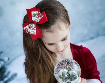 Christmas Hair Bows - Elf Hair Clip - Holiday Hair Bows - Christmas Hair Clip - Christmas Bows - Holiday Hair Clips - Girls Hair Bows