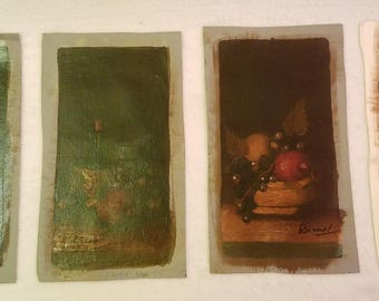 Four Vintage Oil Paintings - Still Life of Fruit and Wine