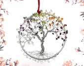 "Chakra Tree Suncatchers, 5"" Hoop, Tree of Life Suncatchers, Suncatcher for Windows, Friendship Gifts, Meditation, Yoga Gifts, Reiki Gifts"