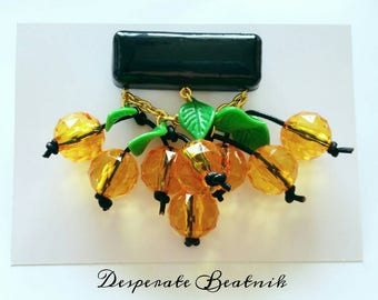 Baroque Cherry brooch by Desperate Beatnik - Black and yellow