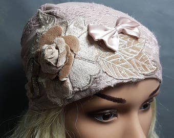 Pale Pink Lace Tichel With Leaves , Head Scarf , Hair Snood , Hair Covering , Head Covering , Fashion Headwear , Head Scarfs