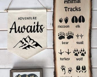 Adventure Awaits Banner Sign; Nursery Decor; Adventure Nursery Sign; Nursery Art; boy nursery; woodland nursery; inspirational wall art