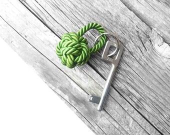 Rope knot keychain Nautical keychain Green keychain
