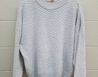 Crew Neck Sweater  |  Size Large  | The Fox Collection | Vintage Geometric Sweater | Off White Sweater | Vintage JC Penney Boyfriend Sweater