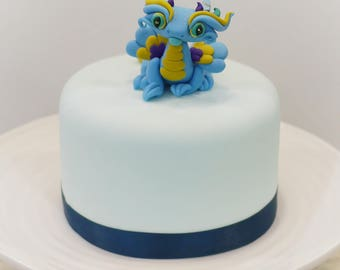 Dragon Figurine, Dragon Ornament, Dragon Cake Topper, Blue Dragon, Cute dragon, Collectable Dragon, Polymer Clay OOAK Dragon Sculpture