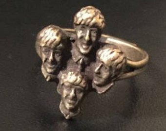 Vintage Beatles Ring Fab Four Faces All Four Members