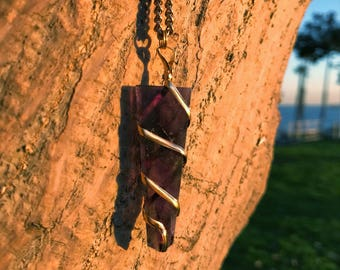 PURPLE AMETHYST Crystal Point Necklace on Antique Gold Chain | Terminated Crystal Point Pendant, Crystal Healing Necklace by MayanRoseShop