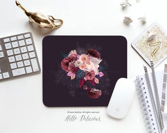Floral Mousepad Peony Mousepad Floral Mouse Pad Flower Mousepad Fall Floral  Mousepad Office Mousemat Rectangular Rose Mousepad Round 119.