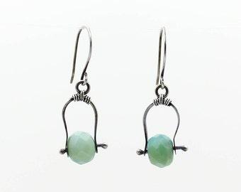 Amazonite Earrings, Gemstone Earrings, Silver Earrings, Dangle Earrings, Drop Earrings, Boho Earrings, Green Earrings, Blue Earrings