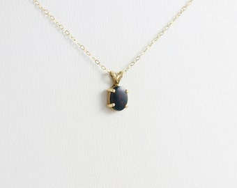 14k Yellow Gold Bloodstone Necklace 16 inch chain