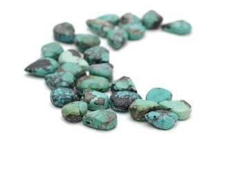 Genuine Turquoise Flat Teardrops Briolette Beads 6-12mm 5pcs