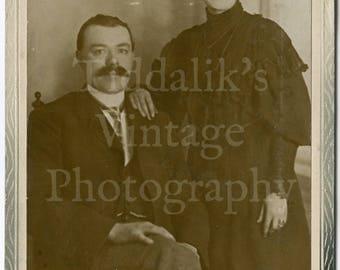 Cabinet Card Photo - Edwardian Married Couple Portrait - Morton Star Photo Co. of Leeds England - Antique Photograph