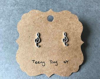 Silver Music Note Stud Earrings - Sterling Silver