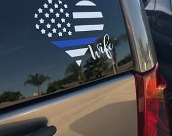 Thin blue line flag decal, police flag, police wife, blue lives matter, law enforcement, police yeti sticker deputy wife police officer gift
