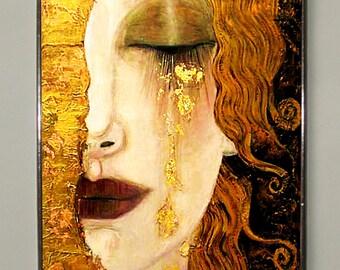 Gustav Klimt.The Kiss-Golden Tears.Stained glass, Vacation until 18. September