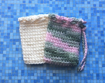 Crochet Soap Saver, Spa Soap Pouch, Cotton Soap Bag, Handmade by KathysYarnCreations