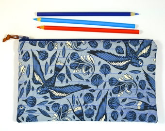 Pencil Case/ Quilted Zipper Pouch/ Cosmetic Bag/ Cotton and Steel Bluebird/ Swallows/ Birds
