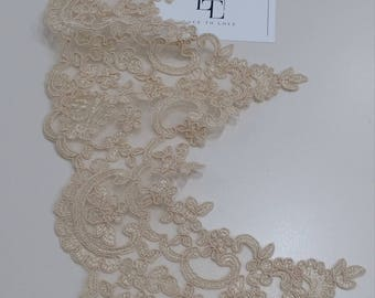 Light powder Lace Trimming by the yard, Spanish Lace Trim, Alencon Lace, Bridal Wedding Dress Trim White Lace Embroidered Mantilla EEV2120