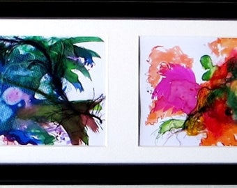 Abstract painting horizontal 72 x 15 cm, multiple framing consisting of  4 abstract paintings, acrylic, mixed media