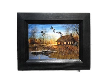 Ducks and Cabin Picture, Passing Through, Jim Hansel, Wildlife Art, Country Decor, Wall Hanging, 9X7, Real Wood Frame, Handmade, Made in USA
