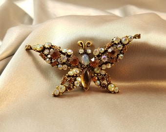 Vintage Florenza Trembler Butterfly Moth//Insect//Trembling Wings//1950s//Brown Colors//Antique Gold//Faux Opal//Rhinestones//Glass Stones
