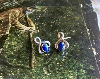 Lapis Lazuli Infinity Symbol Teardrop Stud Earrings