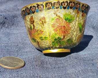 Decorative Chinese Bowl Cloisonne Plique a Jour Vintage Home Decor 2 Inch Floral Pattern Asian Bowl