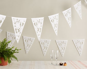 Flower Bunting, Wedding Garland, Mexican Papel Picado for Weddings, White Fiesta Garland, Floral Bunting, Lace wedding decor, Lacy banner