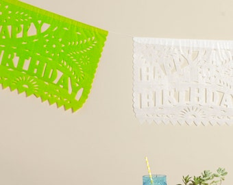 HAPPY BIRTHDAY Bunting, Papel Picado, Happy Birthday Banner, Birthday Decor, Mexican Birthday Party, Lime Green, Birthday sign, Fiesta Party