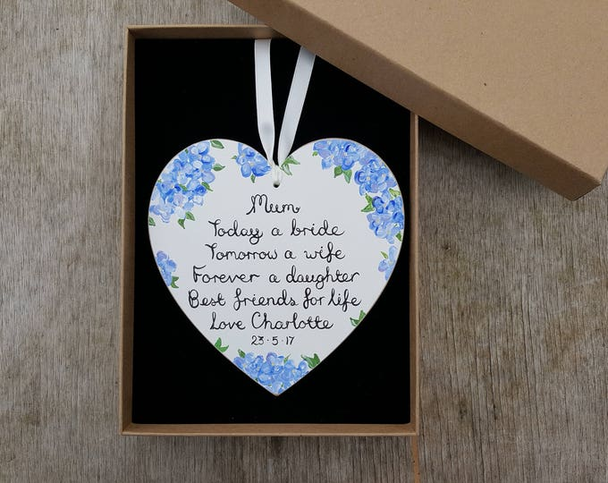 Personalised Wedding Gift for Mother of the Bride - choose your colours, flowers and wording.