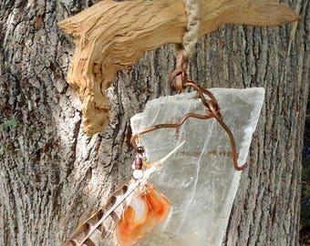 Selenite Gem-Art Mobile Sculpture