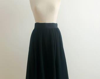 Christian Dior black wool tuxedo skirt