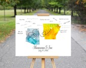 Watercolor States Guest Book, Wedding Guest Book Alternative, Wedding Guest Book Map, Wedding Guest Book Ideas, Watercolor Map Print