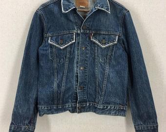 Vintage Levi's Blue Denim Jean Jacket W/ Bedazzled Jewels Sz 40