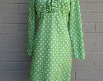 Sears Fashion green polka dot long sleeve dress with ruffle front