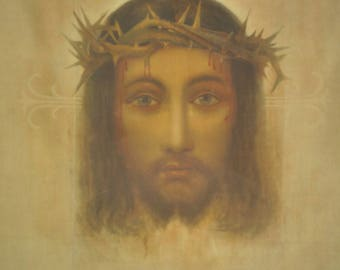 Veronica's Veil Reliquary, Holy face of Jesus  print in 1930 in Vatican Rome with authenticity certificate