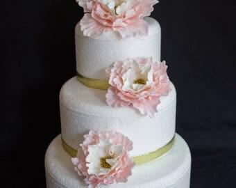 Blush Pink Wedding Cake Flowers 3pcs Vintage Edible Fondant Flower Topper Peony White Gold