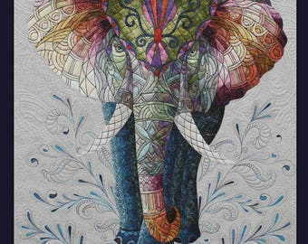 Card Textile Art with Elephant (C13)