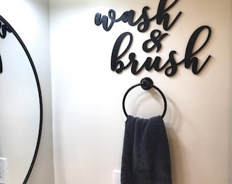 Wash and Brush Wood Word Cutout, Laser  Cut Words, Bathroom Decor