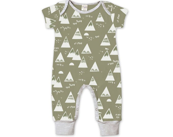 Newborn Baby Boy Coming Home Outfit Summer, Baby Boy Short Sleeve Mountain Romper, Newborn Baby Boy Mountain Romper Green, Tesa Babe 86MTHG