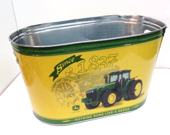 """JOHN DEERE TRACTOR 9.5"""" high Green & Yellow 16.5"""" x 9.25"""" Metal Tub with 2 Wide Cut-Out Carrying Handles is a Licensed John Deere Product"""