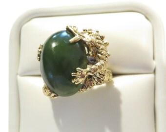 Vintage Chinese Export 14K Jade Dragon Ring