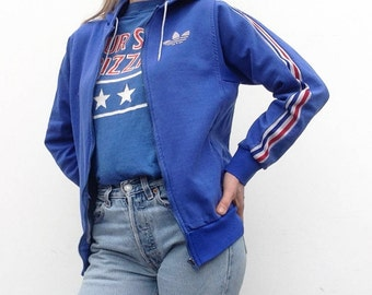 Adidas | Vintage | 1960/70s | Track jacket | Ventex | Blue/white/red | Trèfoil | Hood | Collector