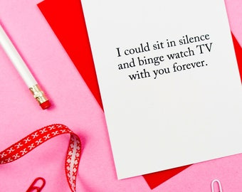 Funny Valentines Card / Funny Valentine's Day Card / Funny Anniversary Card / Netflix Card / Wife Card / Husband Card / 100% Recycled