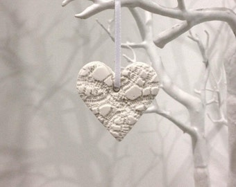 Handmade Clay Heart, Wedding Favour, Hanging Heart Decoration, Heart Tag