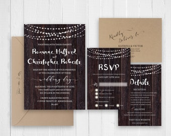 Rustic wedding invitation | Etsy