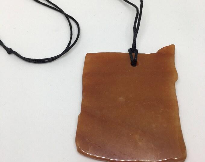 Crystal - Necklace - Agate - Orange - Adjustable leather