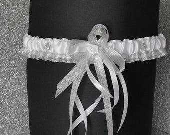 Garter designer model Cinderella (silver glitter and white)
